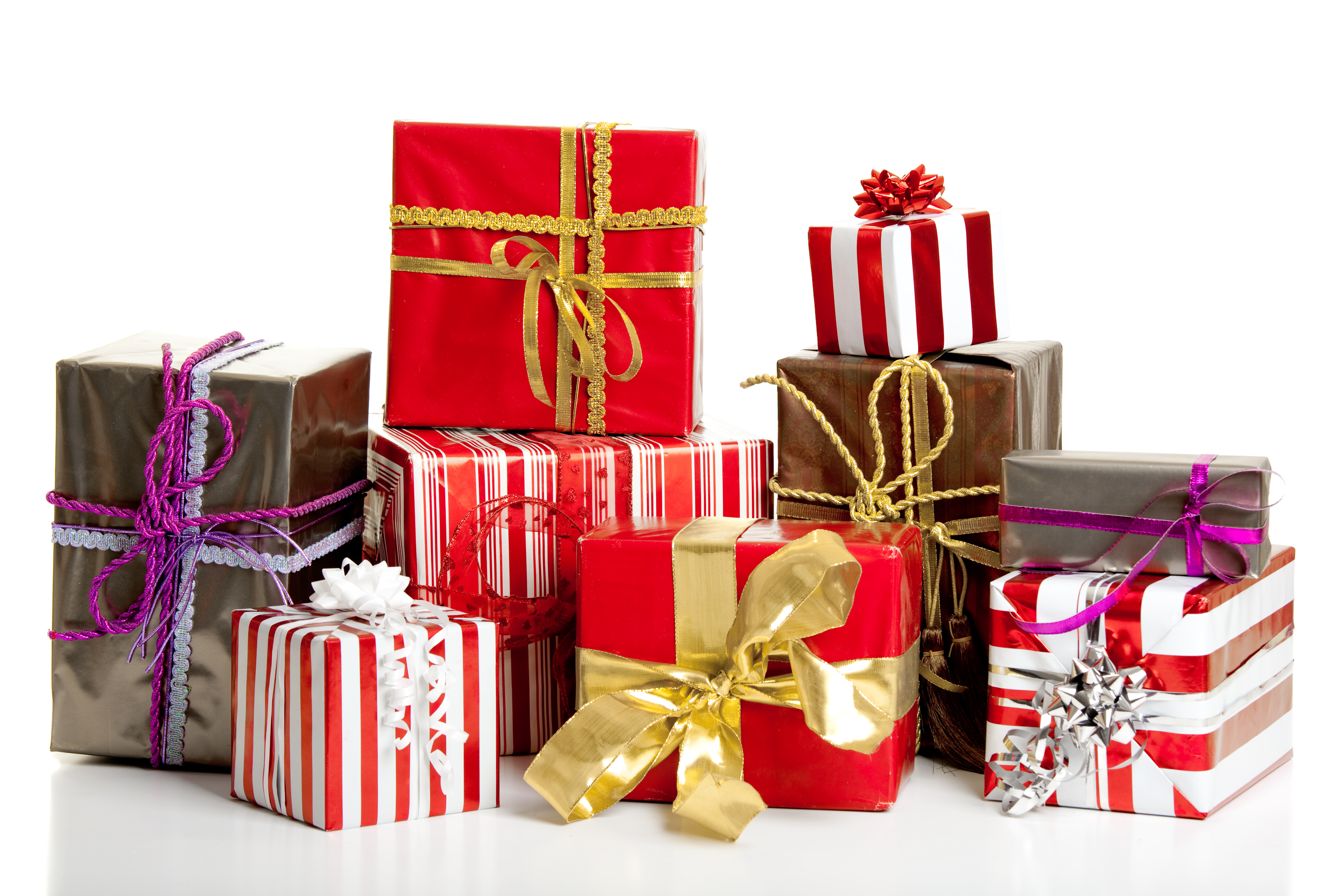 Christmas gifts isolated on a white background
